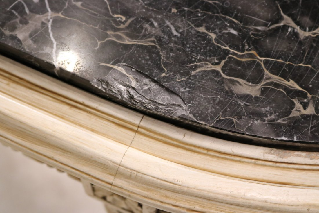 Louis XVI Style White-Painted Marble Top Table - 3