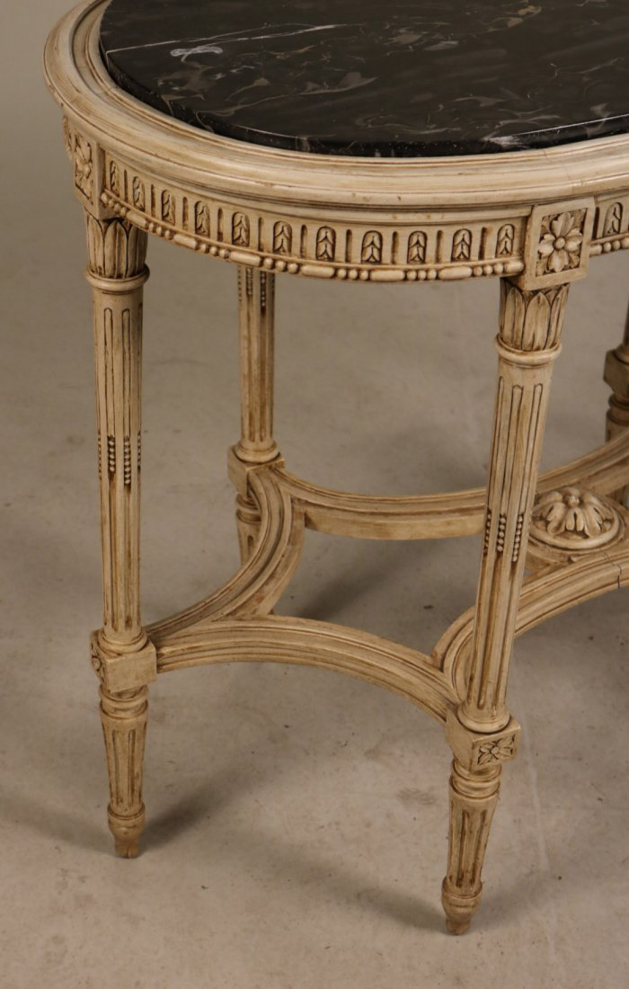 Louis XVI Style White-Painted Marble Top Table - 4