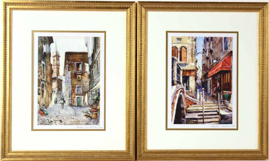 Two Watercolors of Italian Scenes