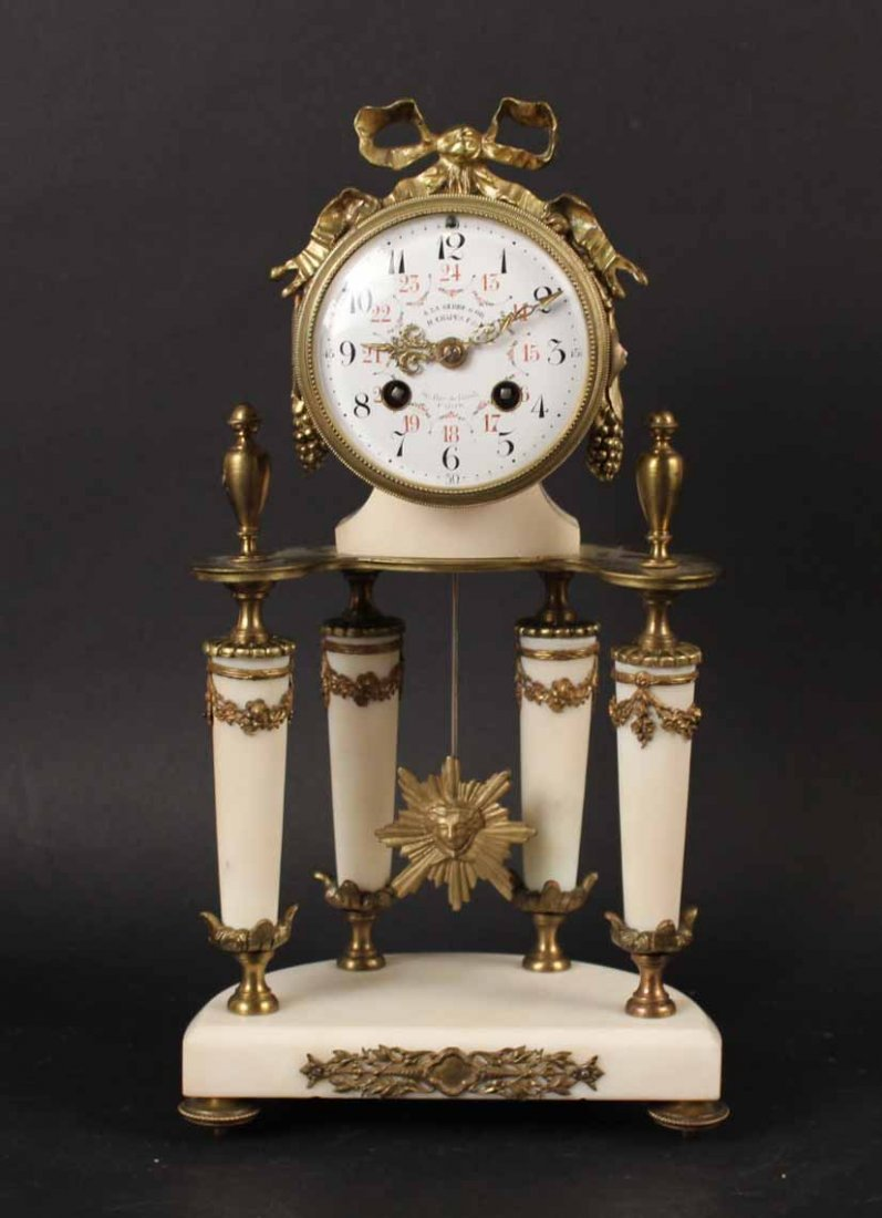 Louis XVI Style Marble Gilt Metal Mounted Clock