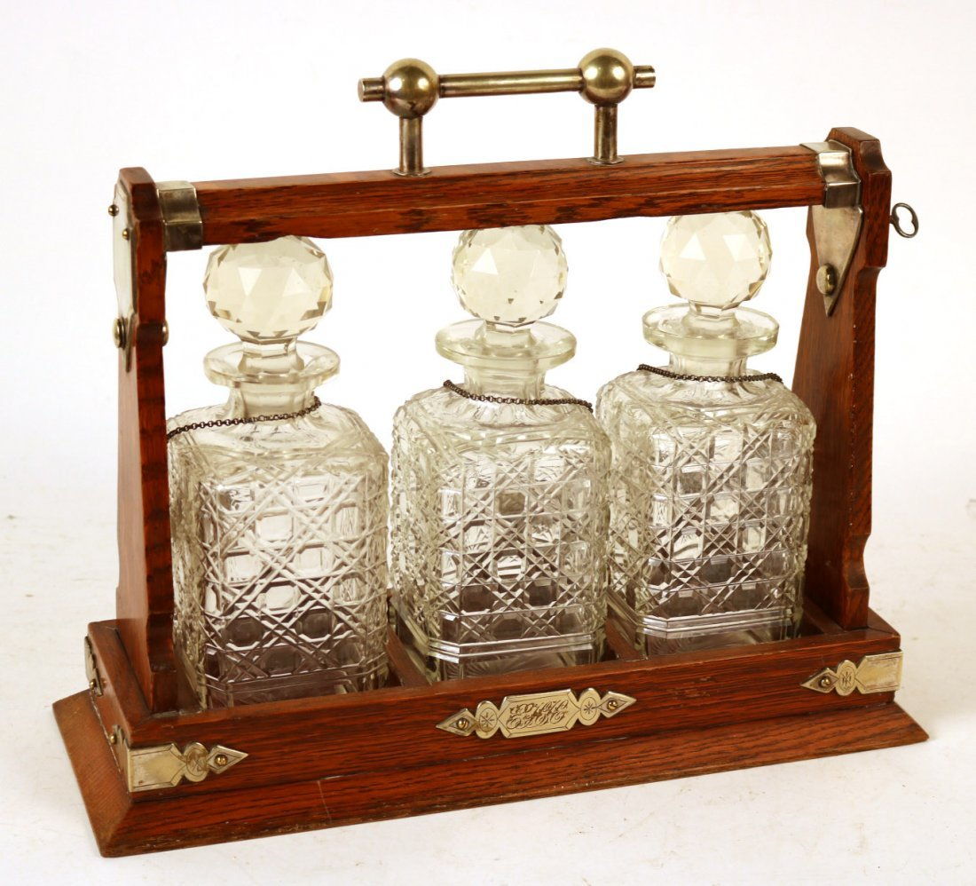 Oak Cased Three Bottle Tantalus