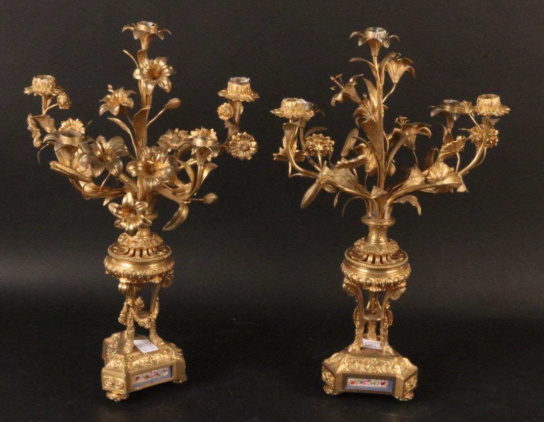 Pair of Louis XVI Style Gilt Metal Candelabra