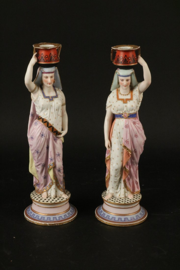 Two Egyptian Revival Style Bisque Candlesticks