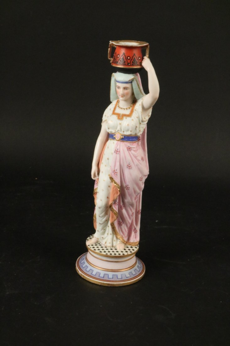 Two Egyptian Revival Style Bisque Candlesticks - 9