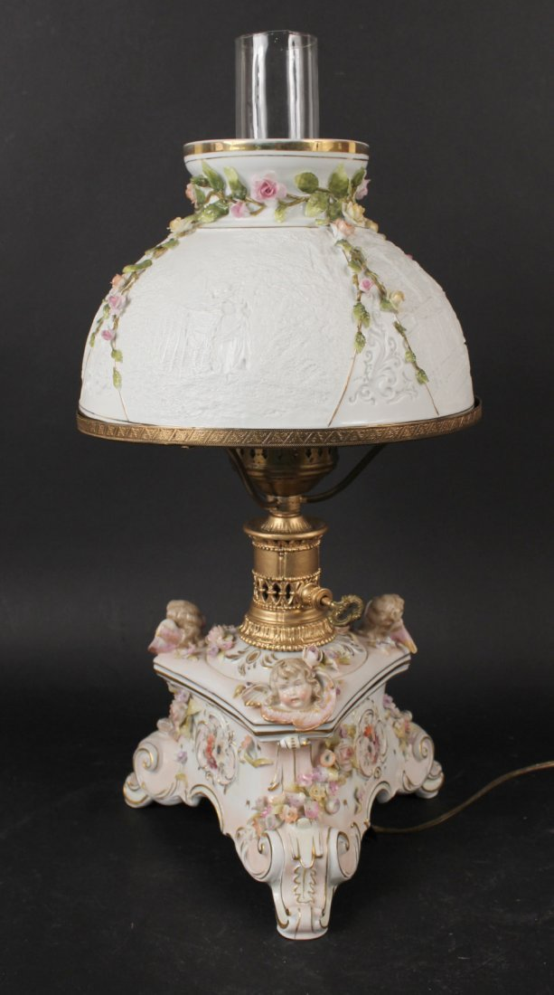 German Porcelain Putti Motif Fluid Lamp
