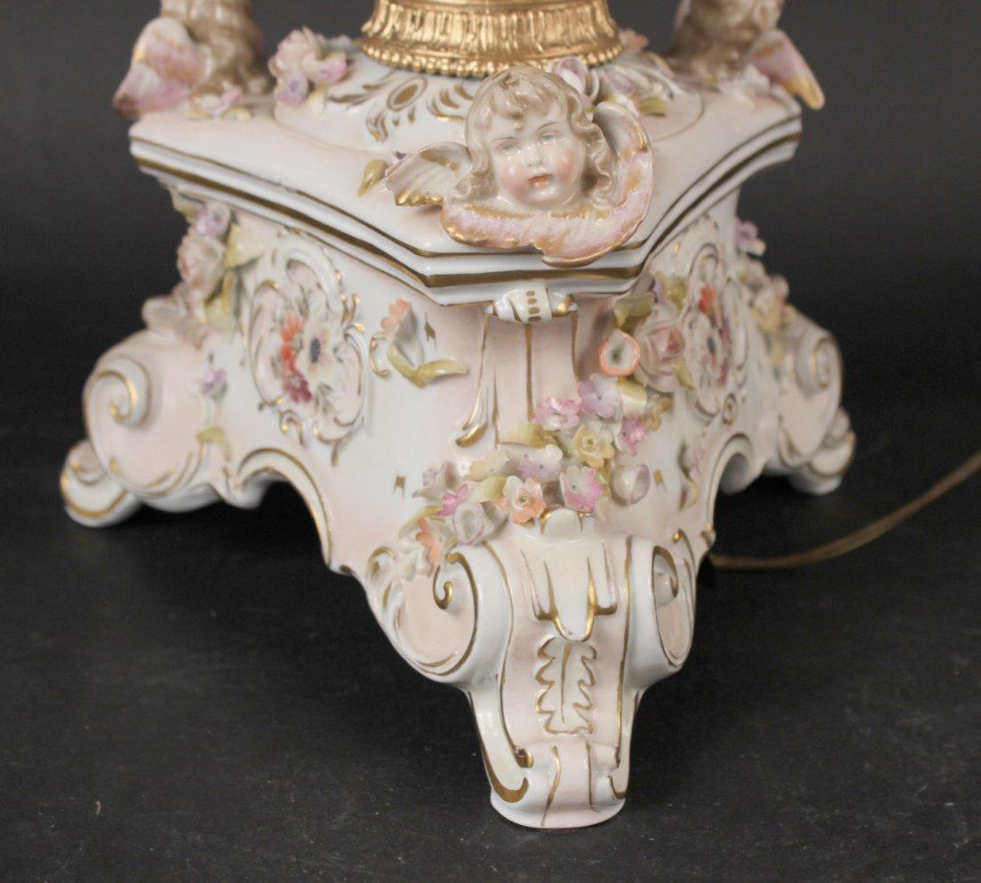 German Porcelain Putti Motif Fluid Lamp - 2