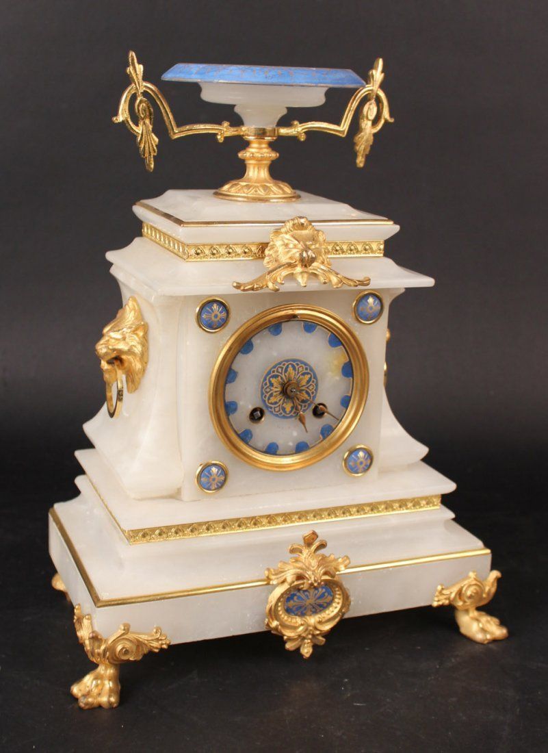 French Hard Stone Gilt Metal Mounted Clock