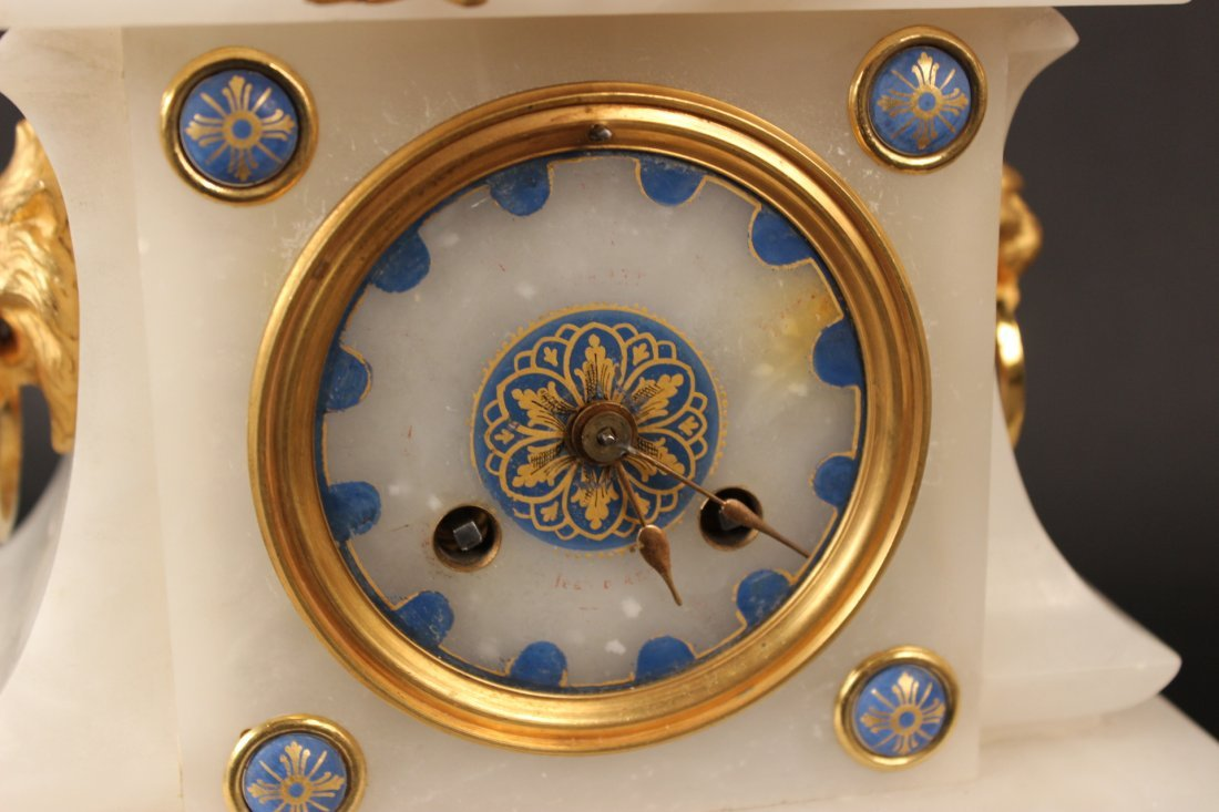 French Hard Stone Gilt Metal Mounted Clock - 2