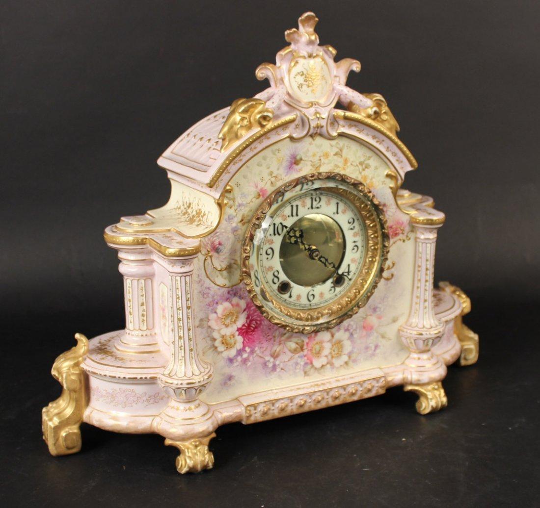 German Porcelain Mantle Clock