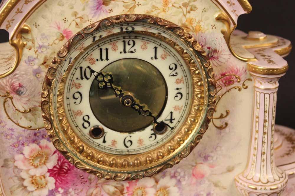 German Porcelain Mantle Clock - 4
