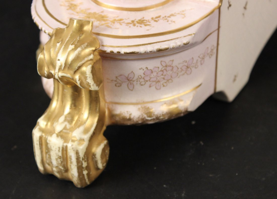 German Porcelain Mantle Clock - 7