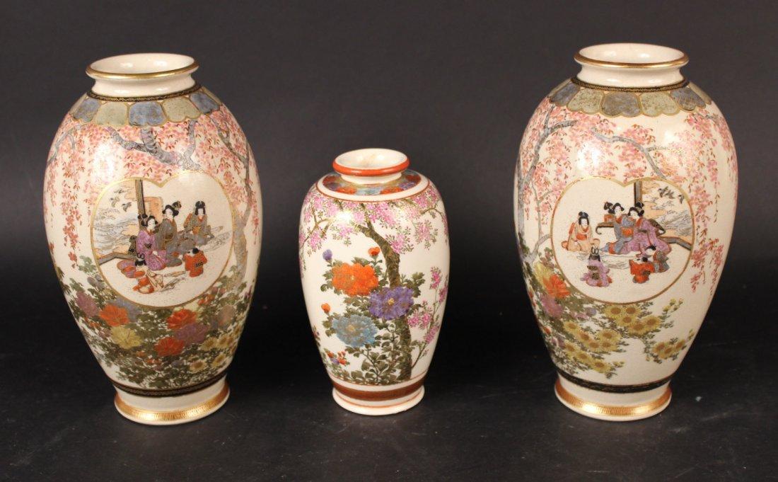 Three Japanese Satsuma Vases