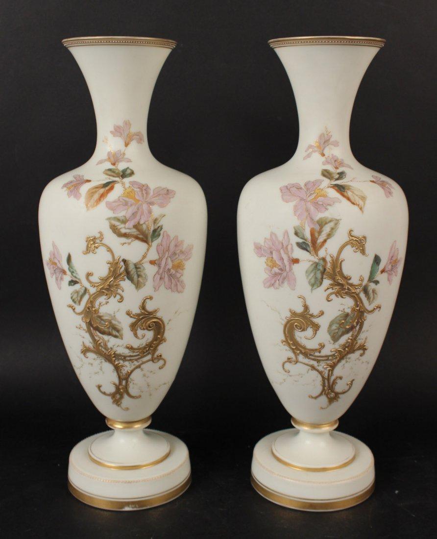Pair of Opaline Glass Vases