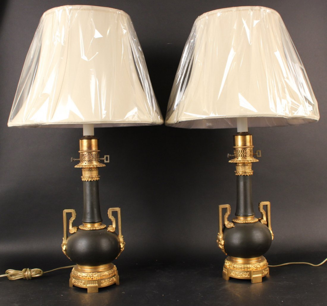 Pair of Louis XVI Style Patinated Bronze Urns