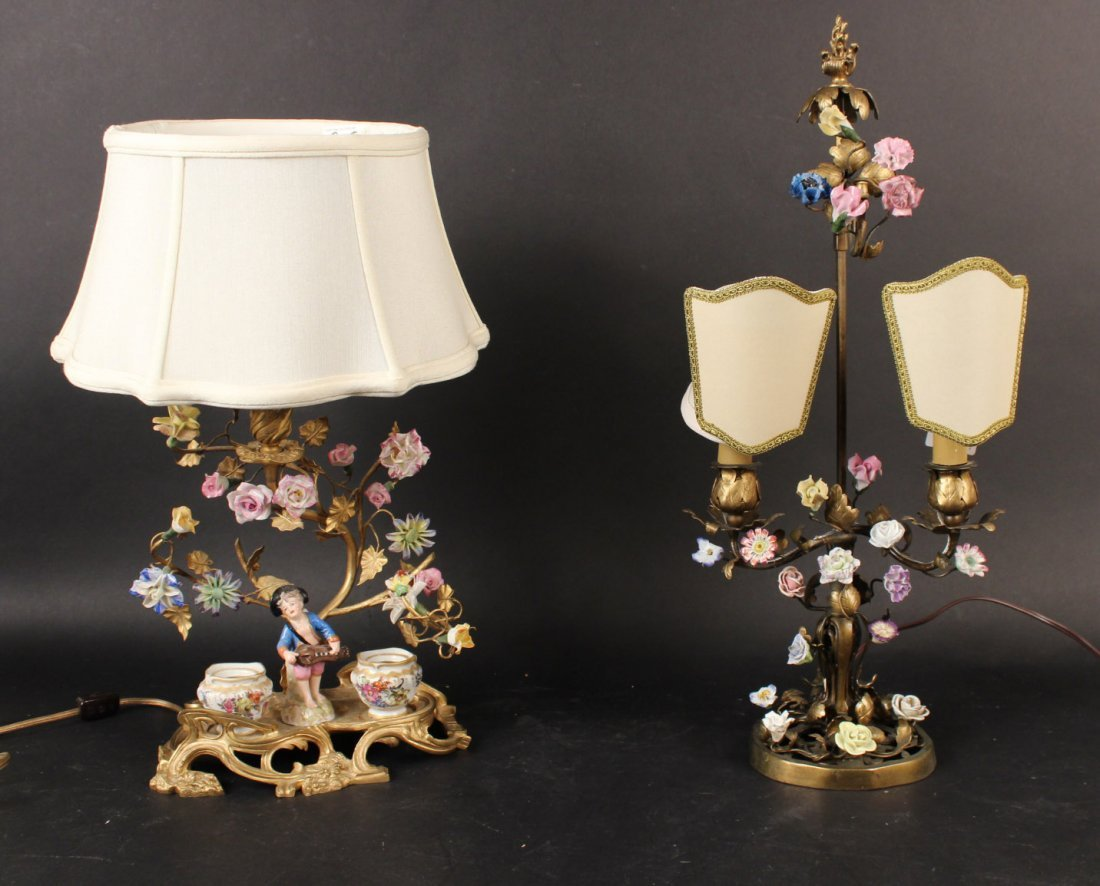 Two Bronze and Porcelain Boulliote Lamps
