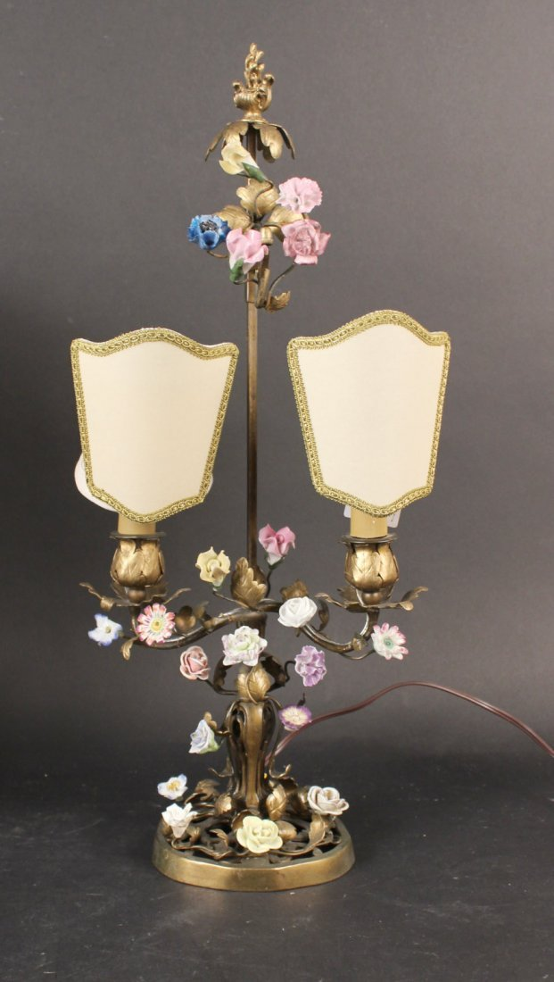Two Bronze and Porcelain Boulliote Lamps - 2