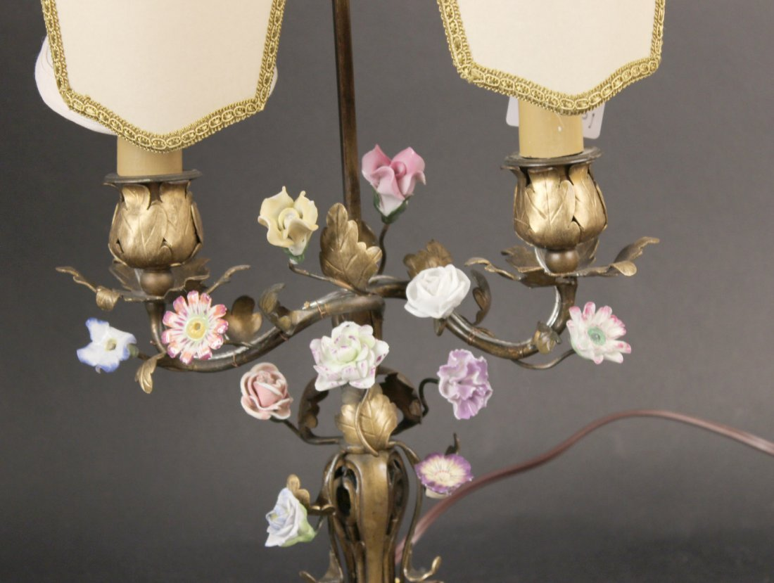 Two Bronze and Porcelain Boulliote Lamps - 4