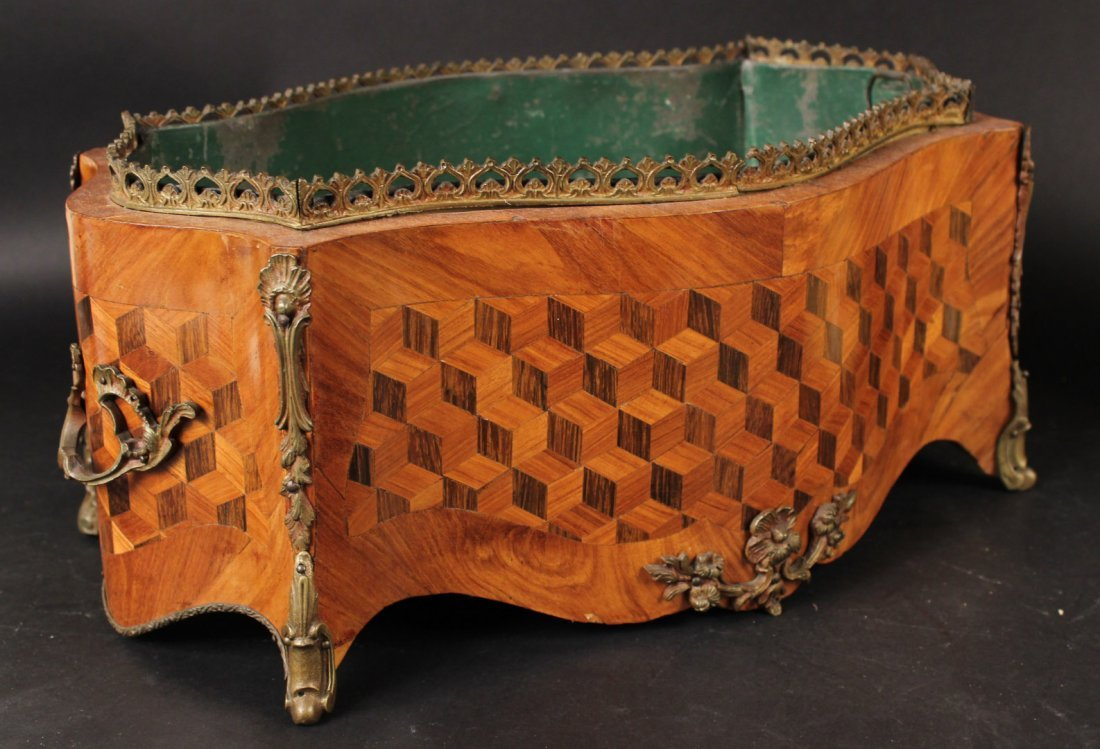 Bronze-Mounted Marquetry Planter - 3