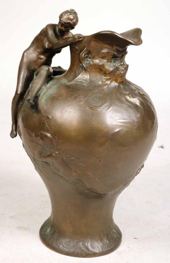 Cast-Bronze Figural Pitcher, Auguste Ledru
