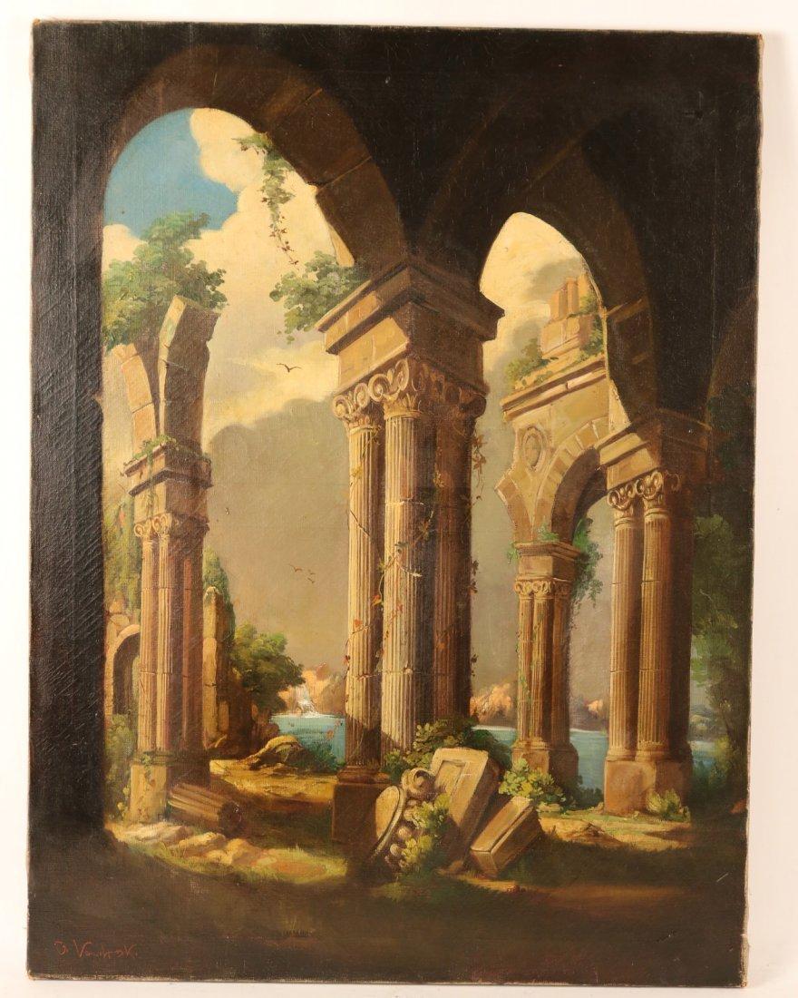 Oil on Canvas, Neoclassical Scene