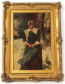 Oil on Canvas Portrait of a Woman in Snow
