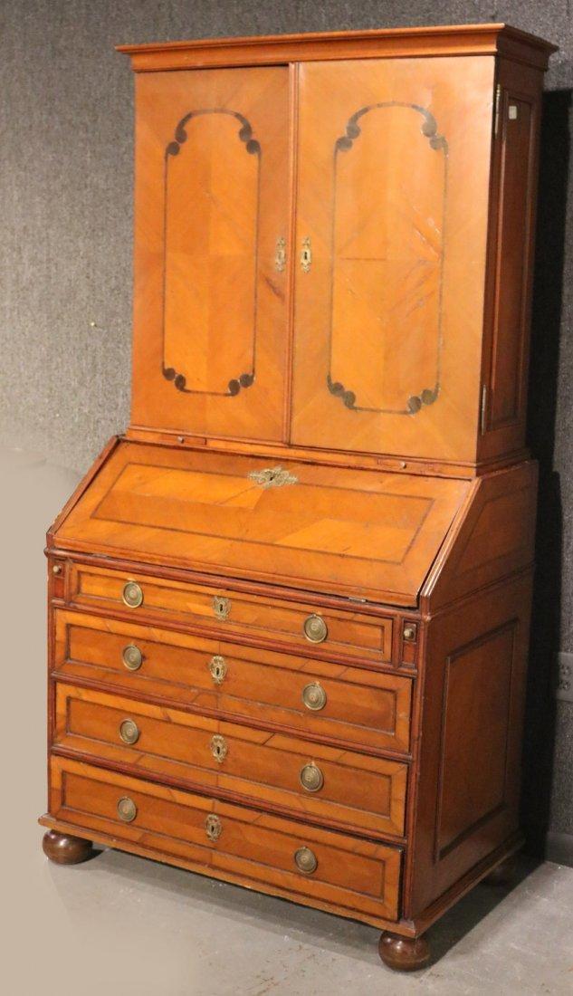 Baroque Ebony and Cherrywood Secretary Bookcase
