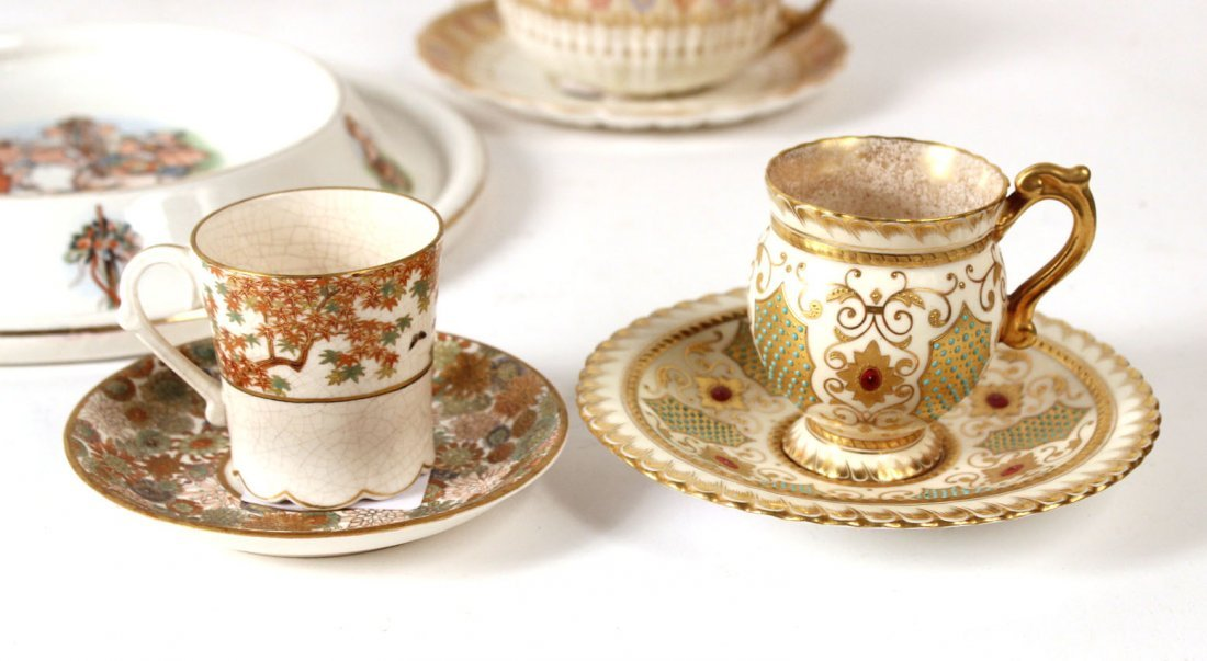 Coalport Gilt and Turquoise Beaded Cup & Saucer - 3