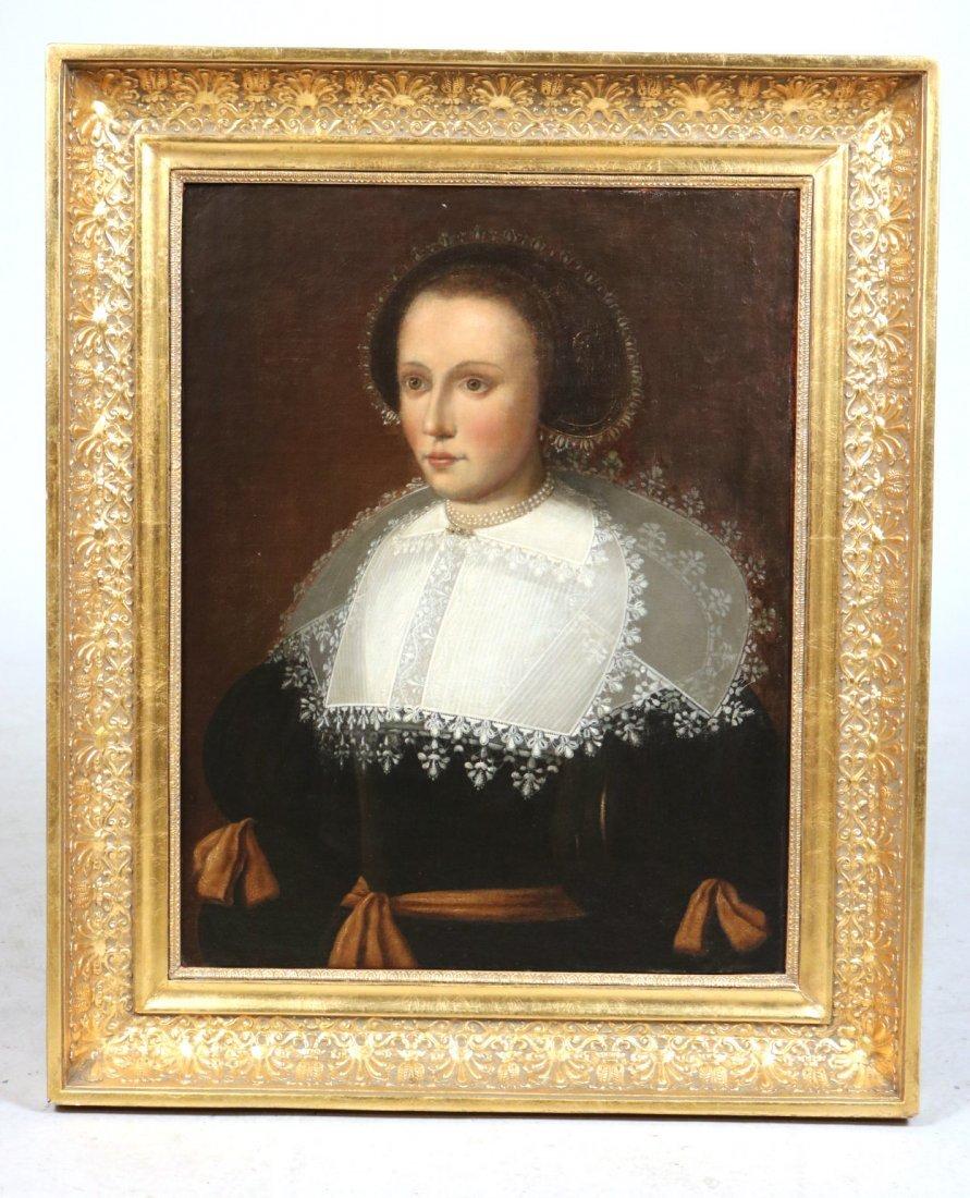 Oil on Canvas, Portrait of Elizabethan Woman