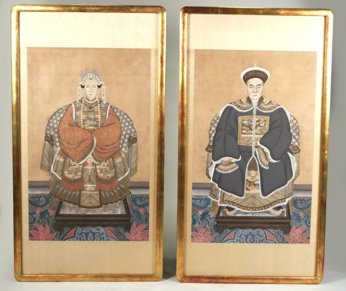 Pair of Painted Prints, Ancestor Portraits