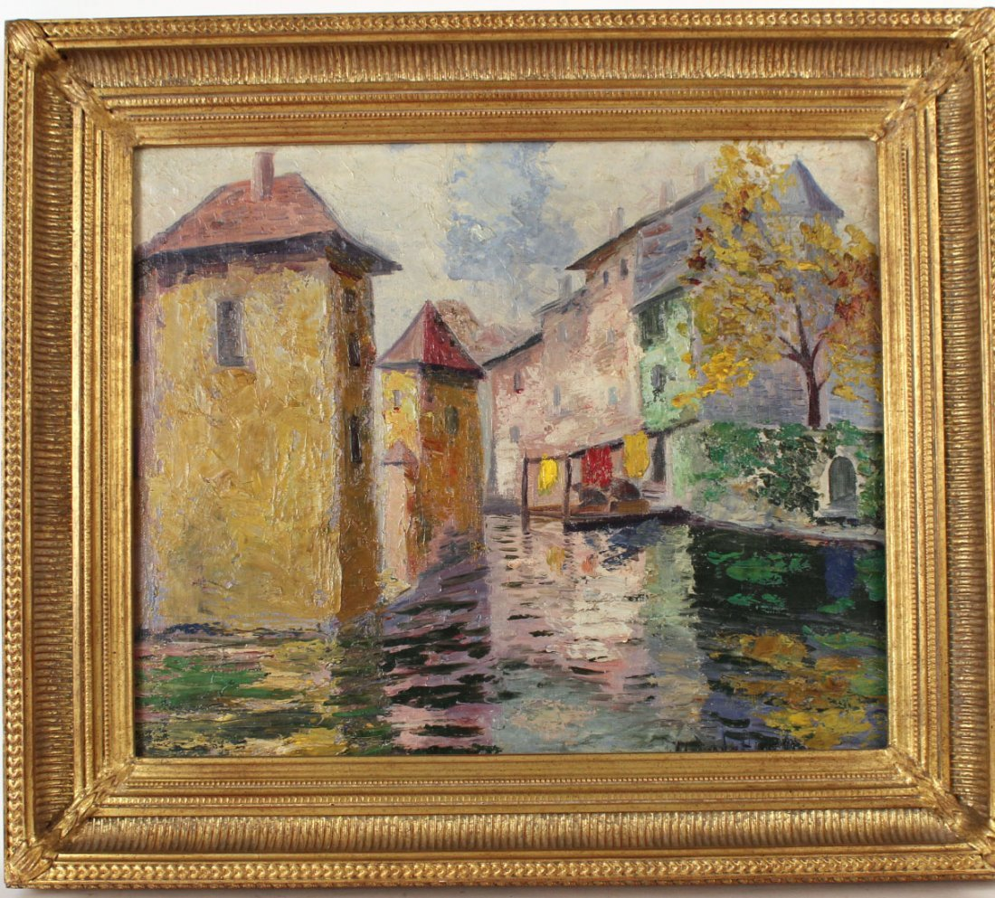 Oil on Canvas, Canal Scene, Hildegard Hamilton