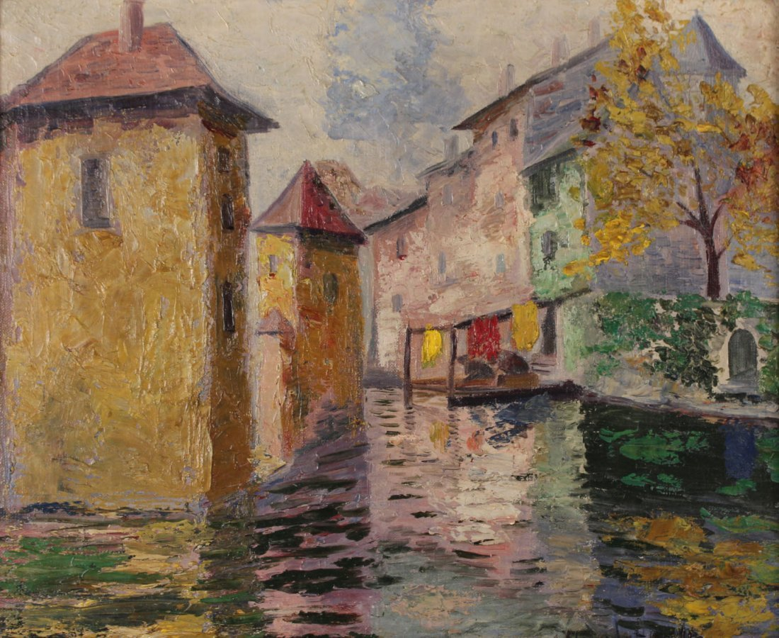 Oil on Canvas, Canal Scene, Hildegard Hamilton - 2