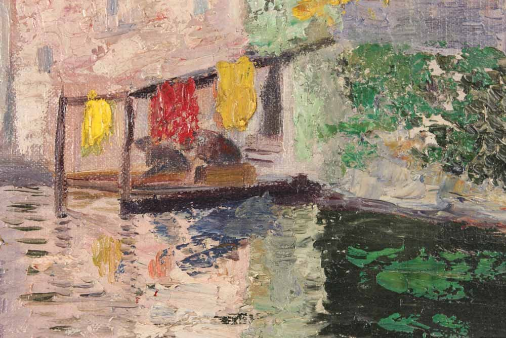 Oil on Canvas, Canal Scene, Hildegard Hamilton - 6