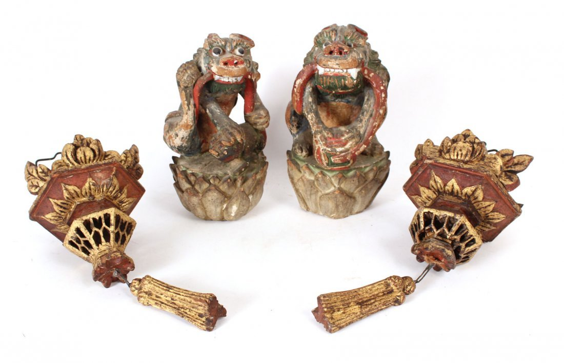 Pair of Chinese Painted Carved Wood Foo Dogs