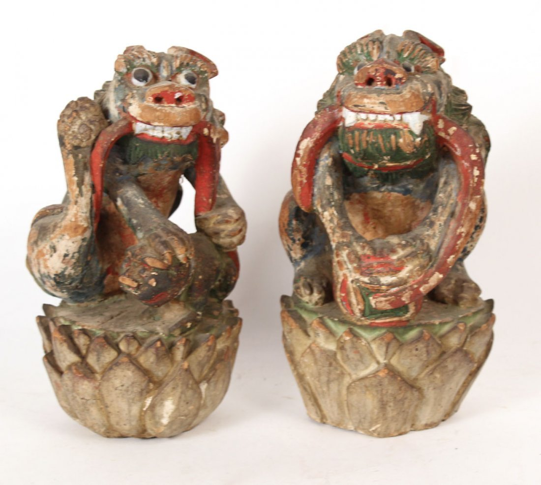 Pair of Chinese Painted Carved Wood Foo Dogs - 6