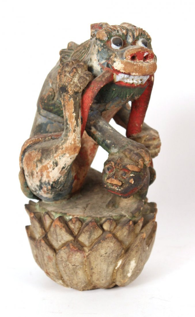 Pair of Chinese Painted Carved Wood Foo Dogs - 7