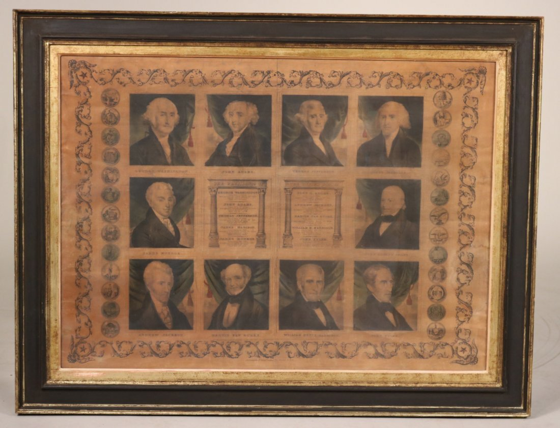Print of First Ten Presidents, T. & E.H. Ensign