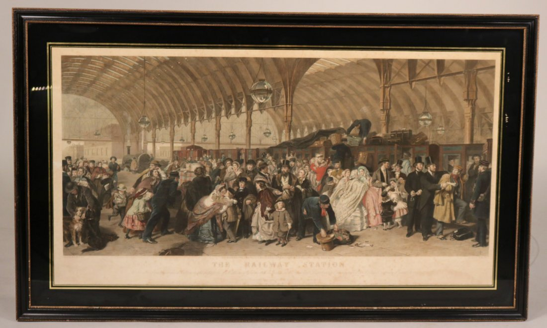 """Colored Engraving, """"The Railway Station"""""""