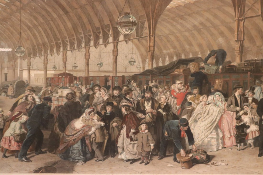"""Colored Engraving, """"The Railway Station"""" - 2"""