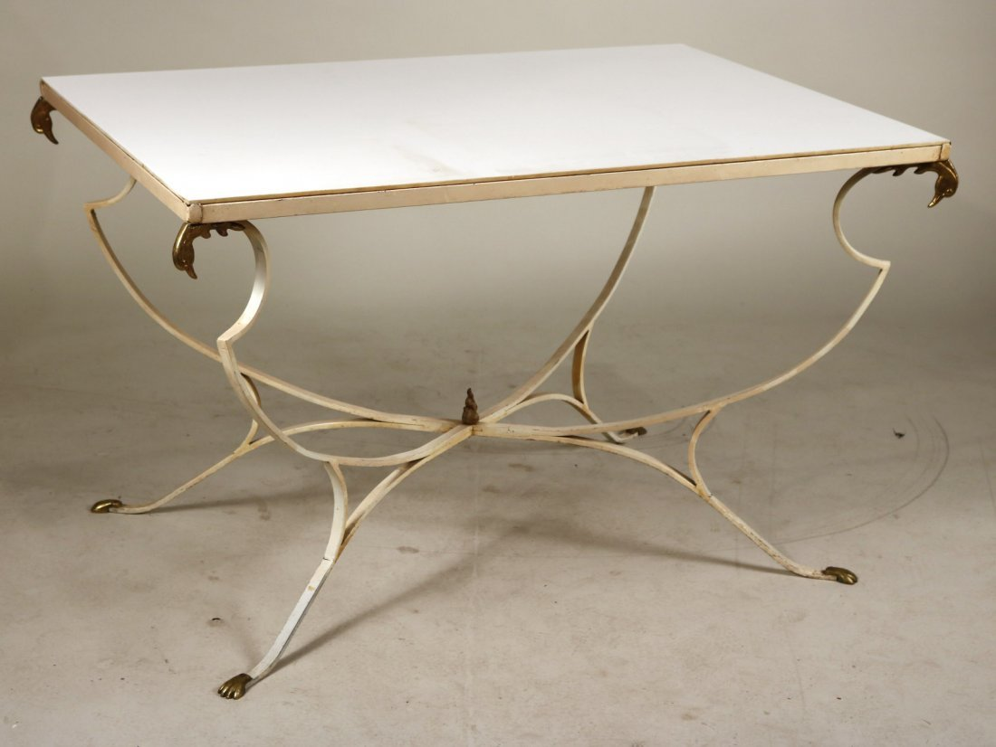 White-Painted Metal Milk Glass Top Outdoor Table
