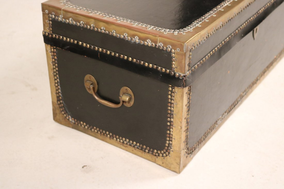 Brass-Mounted Leather and Oak Traveling Chest - 2