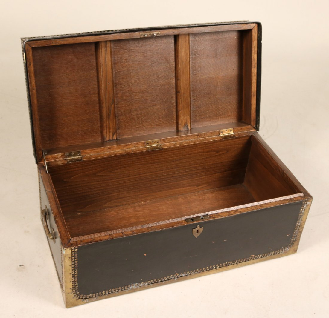 Brass-Mounted Leather and Oak Traveling Chest - 5