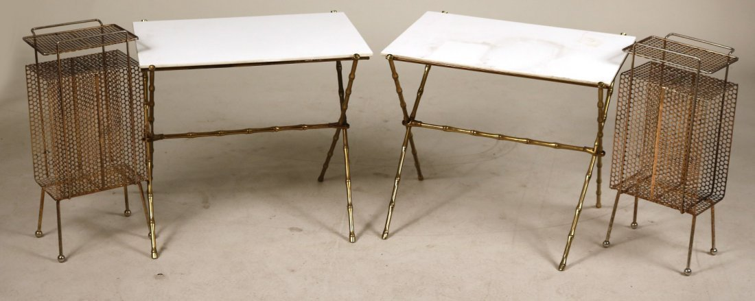 Pair of Brass and Milk-Glass Side Tables