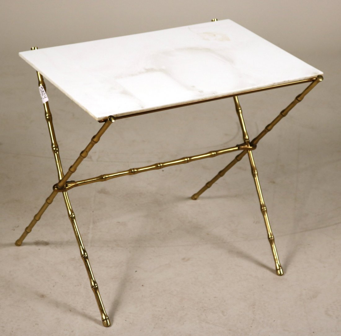 Pair of Brass and Milk-Glass Side Tables - 2