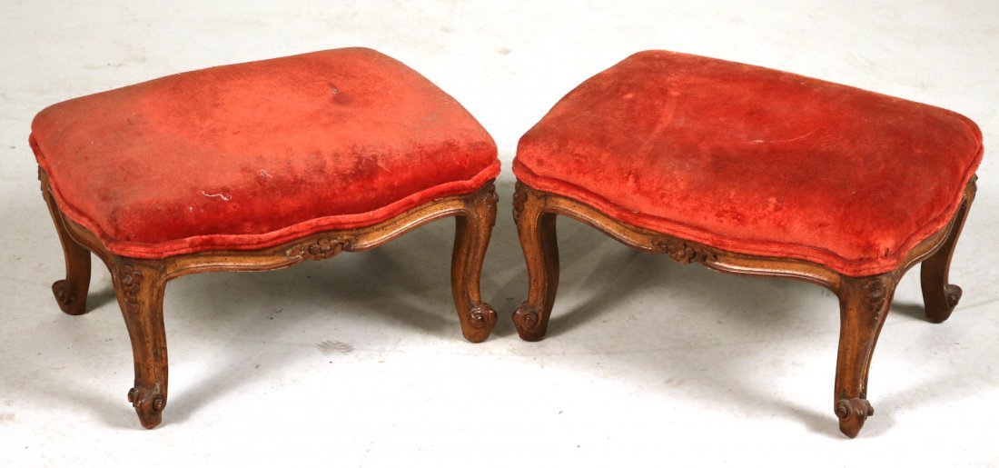 Pair of Louis XV Style Upholstered Footstools