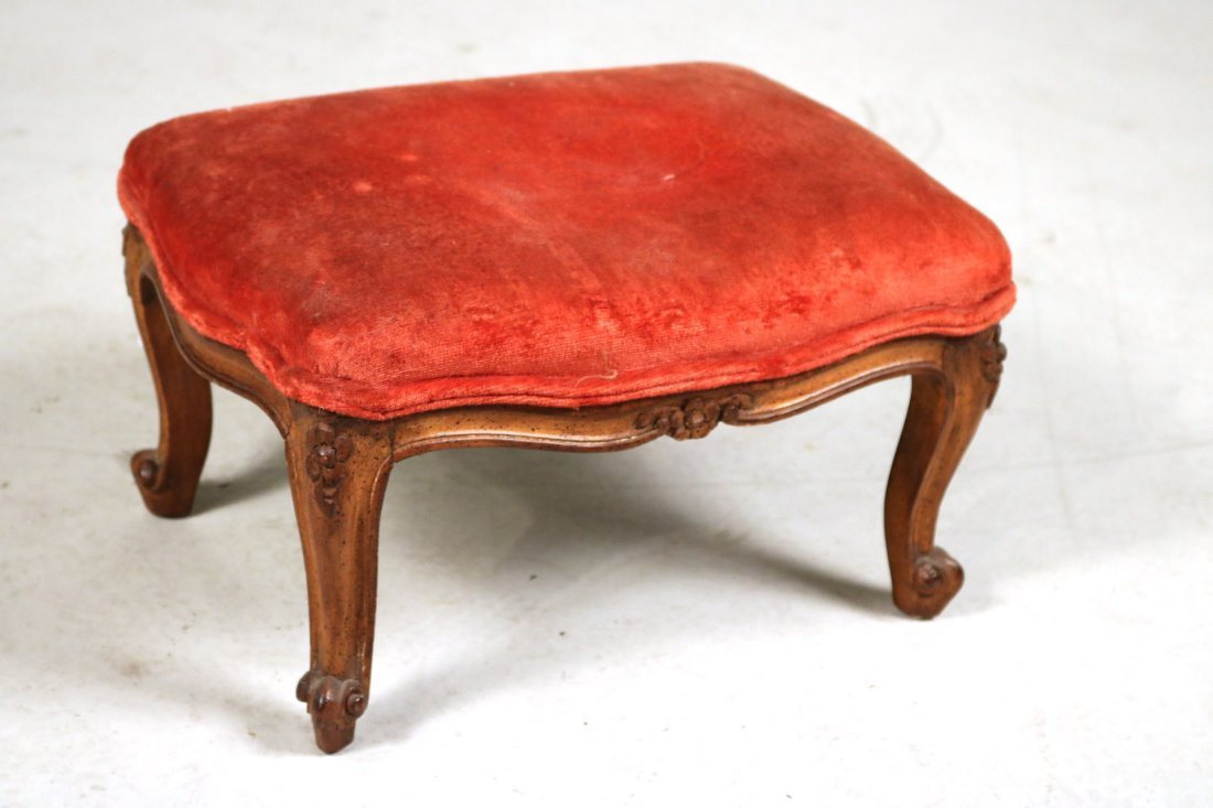 Pair of Louis XV Style Upholstered Footstools - 2