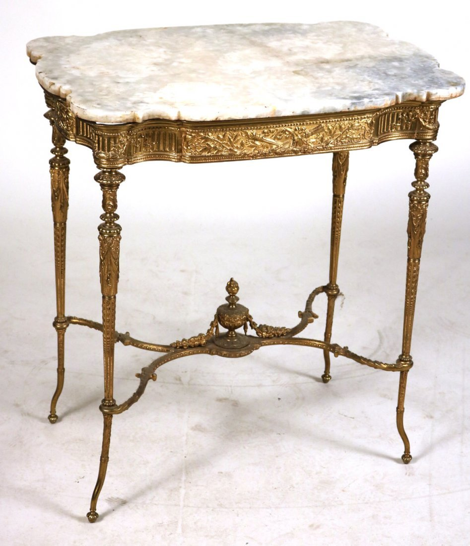 Louis XVI Style Gilt-Metal and Hardstone Table