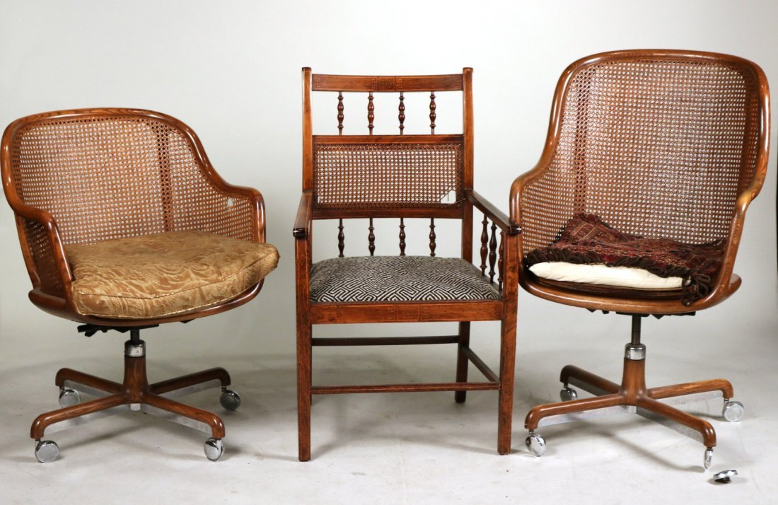 Two Oak and Rattan Desk Chairs