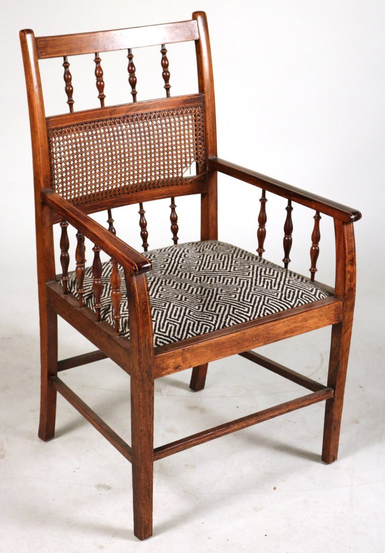 Two Oak and Rattan Desk Chairs - 2