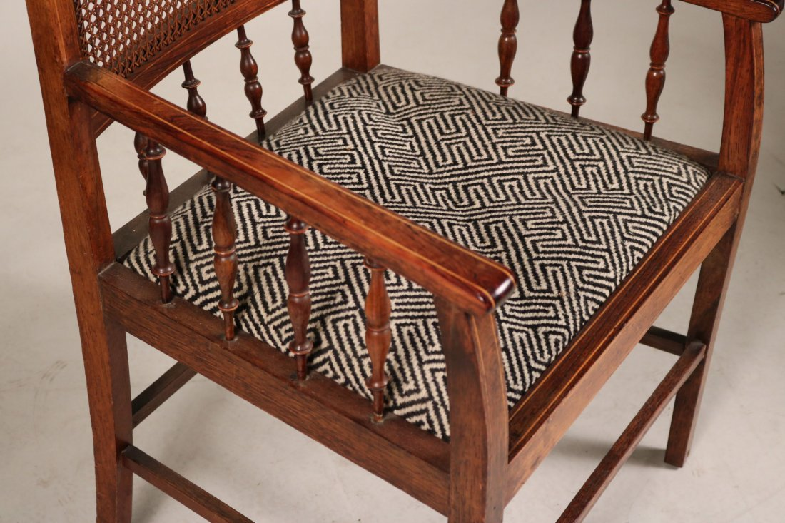 Two Oak and Rattan Desk Chairs - 3