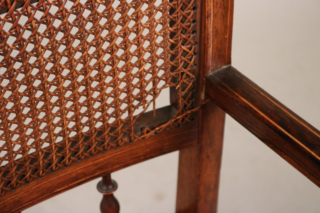 Two Oak and Rattan Desk Chairs - 4